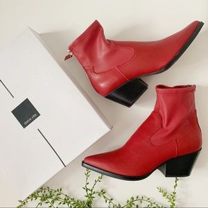 Dolce Vita Red Leather Shanta Boot with Zipper